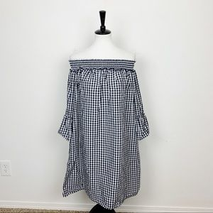 Charter Club Gingham Off Shoulder Midi Dress Sz L